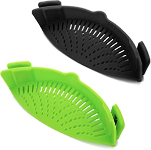 Clip-on Kitchen Food Strainer for Spaghetti, Pasta, Meat, Fruits, Vegetables. Silicone Kitchen Food Strainer for All Sizes of Pots & Bowls-2 PCS.(Green,Black)