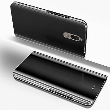 premium selection 50639 382f6 Surakey Funda Huawei Mate 10 Lite Clear View Standing Cover Funda View Flip  Wallet Make Up Mirror Funda Carcasa Caja del Móvil Case Ultra Thin Book ...