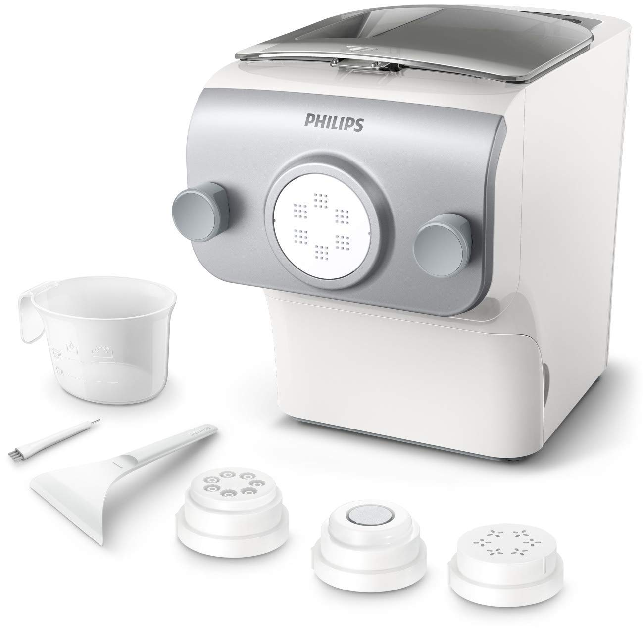 Philips Avance Collection Automatic Pasta and Noodle Maker Plus with 4 Interchangeable Pasta Shape Plates, Silver - HR2375/06 (Latest Version, 2019 Release) by Philips