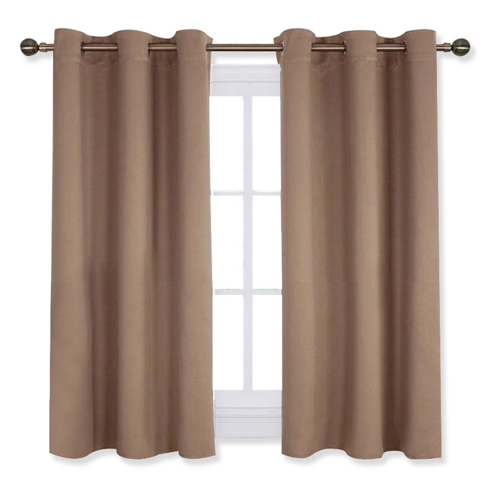 NICETOWN Blackout Window Curtains and Drapes for Kitchen, Window Treatment Thermal Insulated Solid Grommet Blackout Drapery Panels (Set of 2 Panels,42 by 45 Inch,Cappuccino)