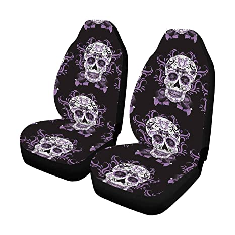 InterestPrint Day Of The Dead Mexico Sugar Skull Front Car Seat Covers Set 2
