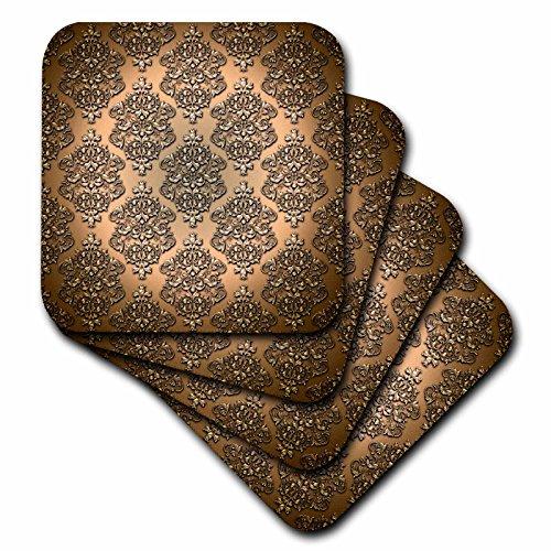 3dRose Royal Copper Single Damask Metal Effect Pattern - Ceramic Tile Coasters, Set of 4 (cst_210786_3) (Tile Pattern Coaster)