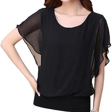 f14821d31766d0 SUNNOW® Elegant Damen Shirt Kurzarm Fledermausärmel Rundhals Locker Chiffon  Bluse Oberteile Sommer (EU 42