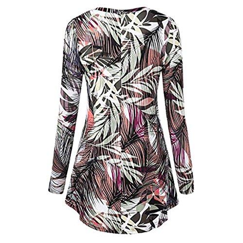 YUMM Shirts Tops O Collo Casuale Camicetta Multicolore Donna Sciolto Top T Ladies raWw1r84qY