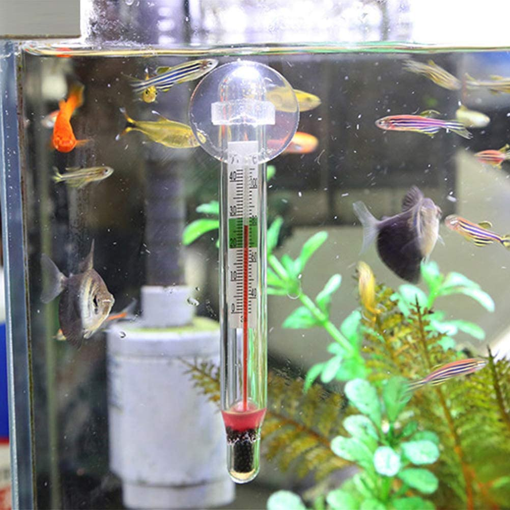 Nargut Aquarium Thermometer Submersible Glass Fish Tank Thermometer with Suction Cup for Water Temperature Measuring
