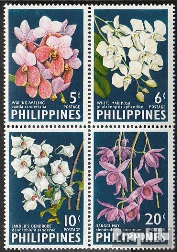 kompl.Ausg. Prophila Collection Philippinen 692A-695A Viererblock Briefmarken f/ür Sammler 1962 Orchideen Pflanzen