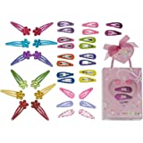 minihope snap hair clips for kids,snap clips for grils,4cm 12count,3cm 24count, 36 Count (Pack of 1)…