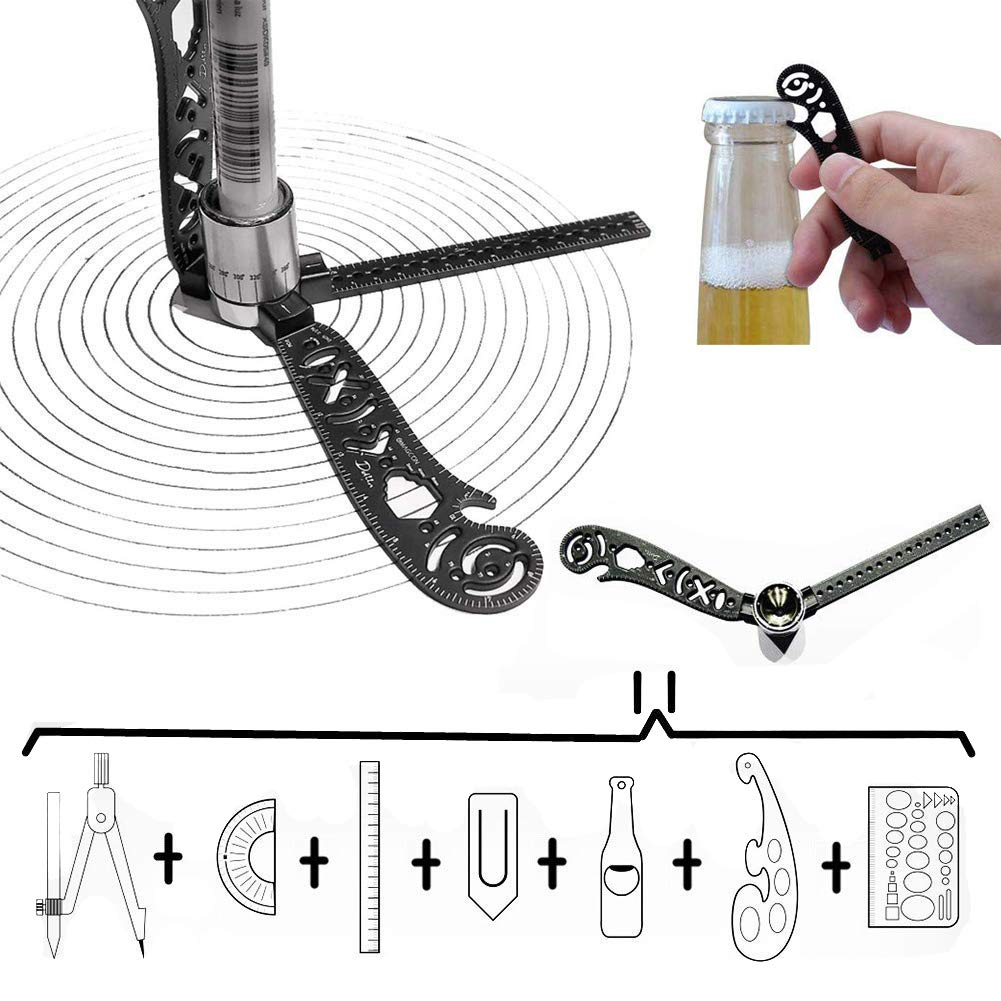 Multifunction Magcon Drawing Tool Versatile Drawing Curved Magnetic Ruler Mini Compass and Protractor Combo by DDWT