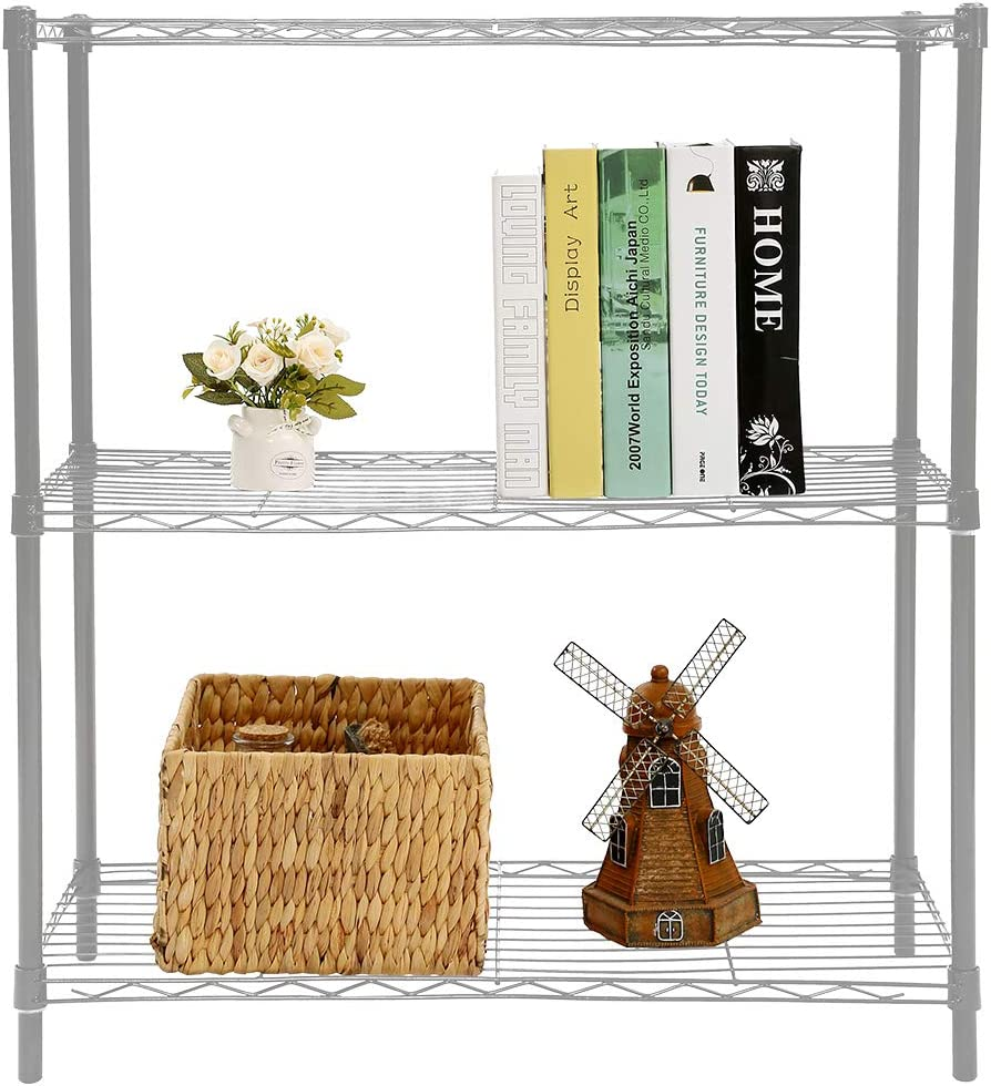Home Basics Ultra Durable Steel Wide Wire Shelving Unit Storage Rack (Grey, 3 Tier)