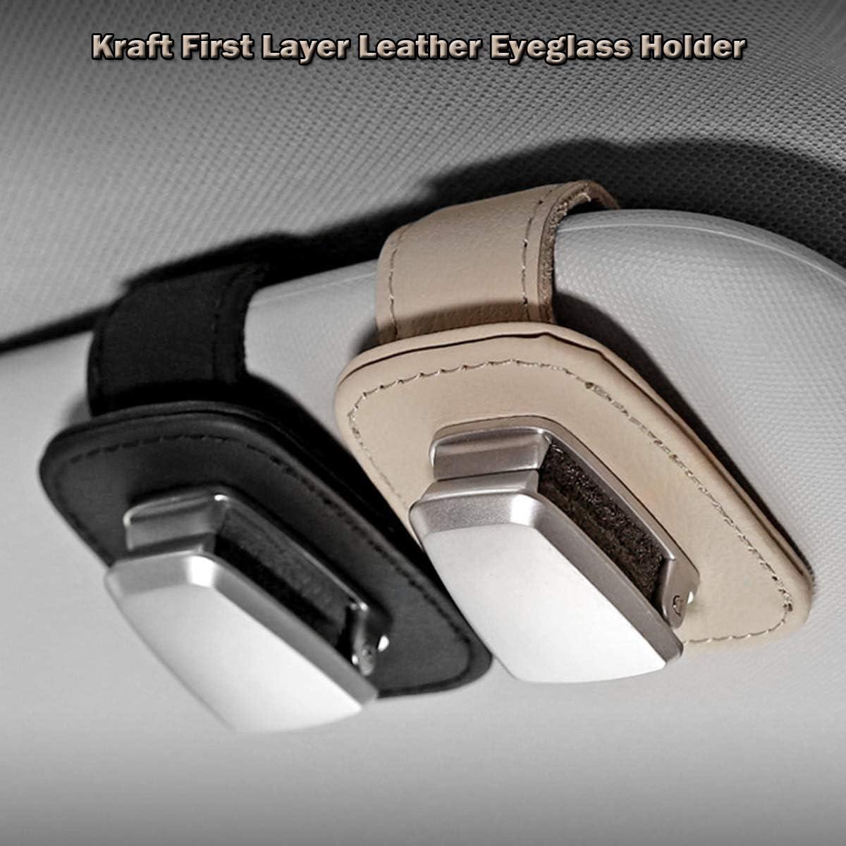 AUXMART Car Visor Sunglasses Leather Holder Beige Sunglasses Clip Suitable for All Models