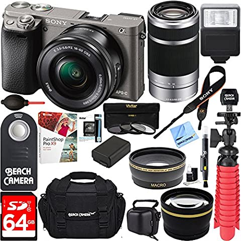 Sony Alpha a6000 24.3MP Interchangeable Camera 16-50mm & 55-210mm Zoom Lens (Grey)+ 64GB Accessory Bundle + Large Gadget Bag + Extra Battery+Wide Angle Lens+2x Telephoto Lens +Flash +Remote - Sony 12 Inch