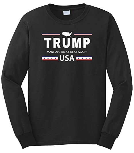 1604e794 Cybertela Men's Trump Make America Great Again USA Long Sleeve T-Shirt  (Black,