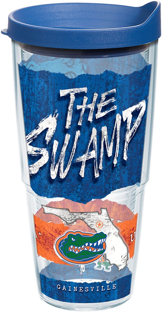 Clear Tervis 1218506 Florida Gators College Statement Tumbler with Wrap and Blue Lid 24oz