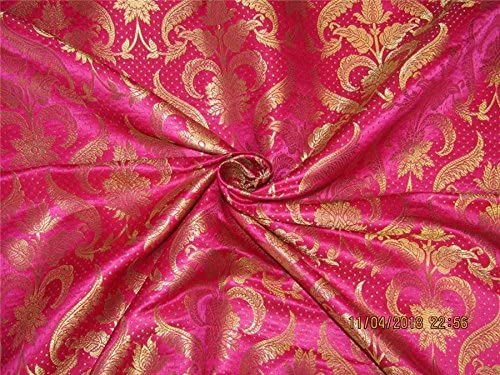 Best use for theatrical costumes Beautiful fusia gold blue brocade sold by the yard Fushia pink blue doubke faced brocade 45 wide