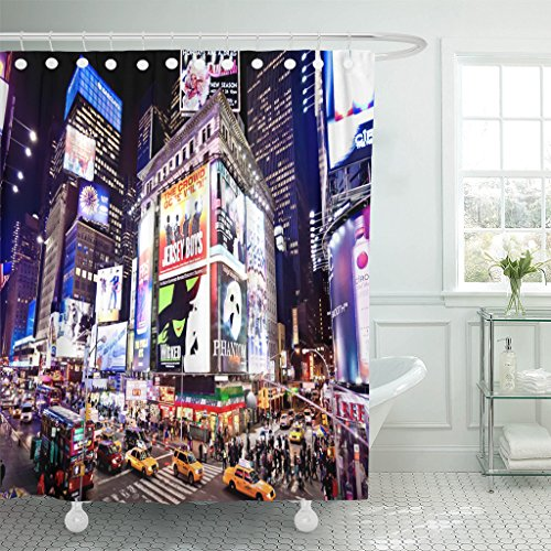 Emvency Shower Curtain City New York January 6 Illuminated Facades of Broadway Theaters on 2011 in Times NYC Night Street Waterproof Polyester Fabric 72 x 72 inches Set with Hooks (Nyc Building Shower Curtain)