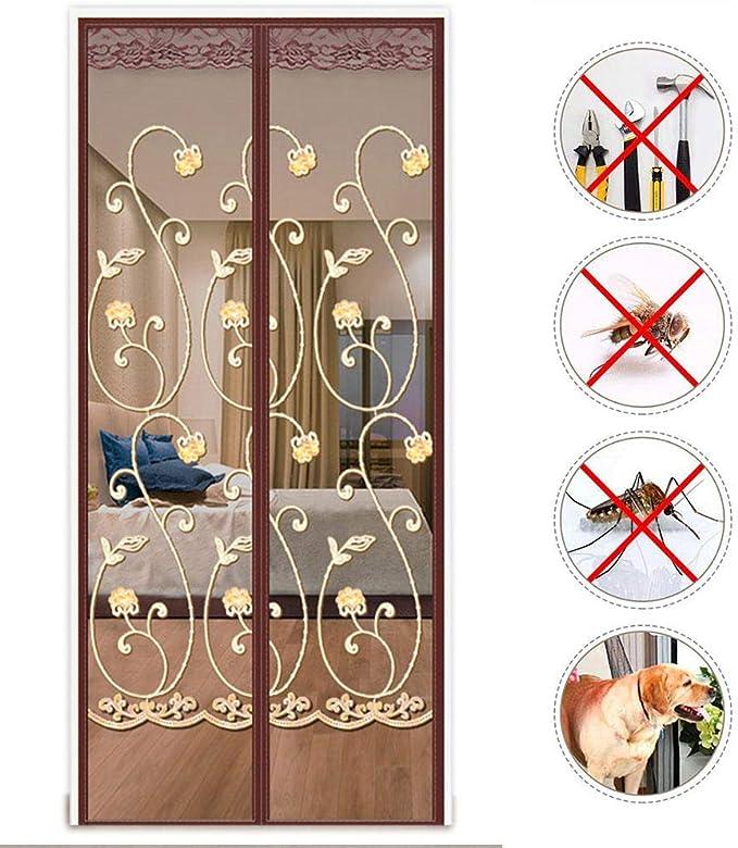LHXFAN Mosquitera magnética para puerta, Mosquitera Puerta 80X205CM,Protección contra insectos Cortina para Puertas de Sala de Estar la Puerta del Balcón - Rosas bordadas de café: Amazon.es: Bricolaje y herramientas