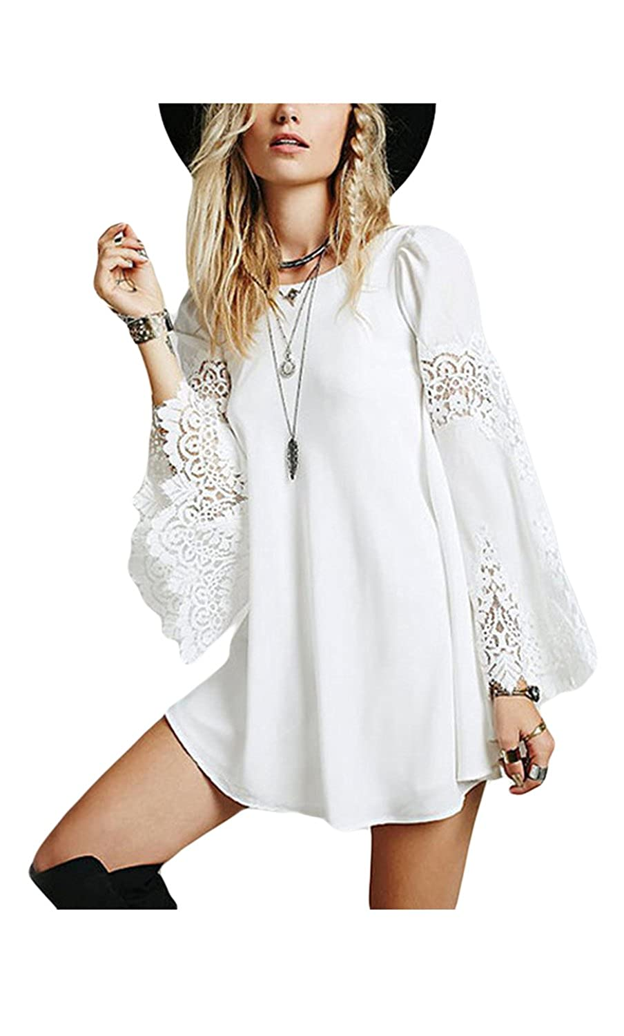 Women's Elegant Bell Sleeve Hollow Out Lace Patchwork A Line Tunic Shirts Dress CAANQYL11