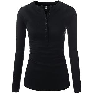 4e32bb5deb7f0d NEARKIN Slim Long Sleeve V Neck Henley Shirts Asymmetrical Tunic Tops for  Women