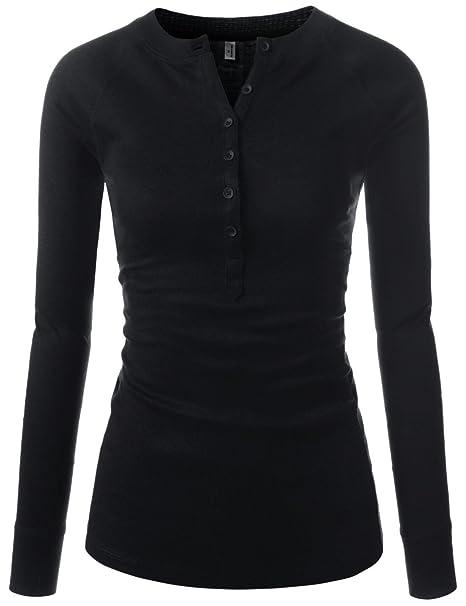 69641b5a25c97 NEARKIN Slim Long Sleeve V Neck Henley Shirts Asymmetrical Tunic Tops for  Women