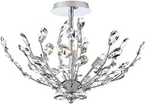 Home Decorators Collection Chandelier 20 In 4 Light Chrome Semi Flushmount With Crystal Glass Branches Amazon Com