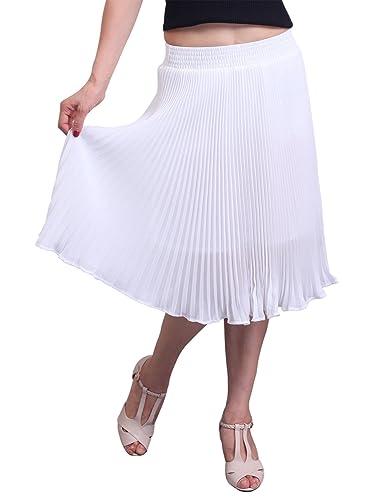Relaxfeel de las mujeres de cintura alta con pliegues formal Midi falda plisada Color sólido