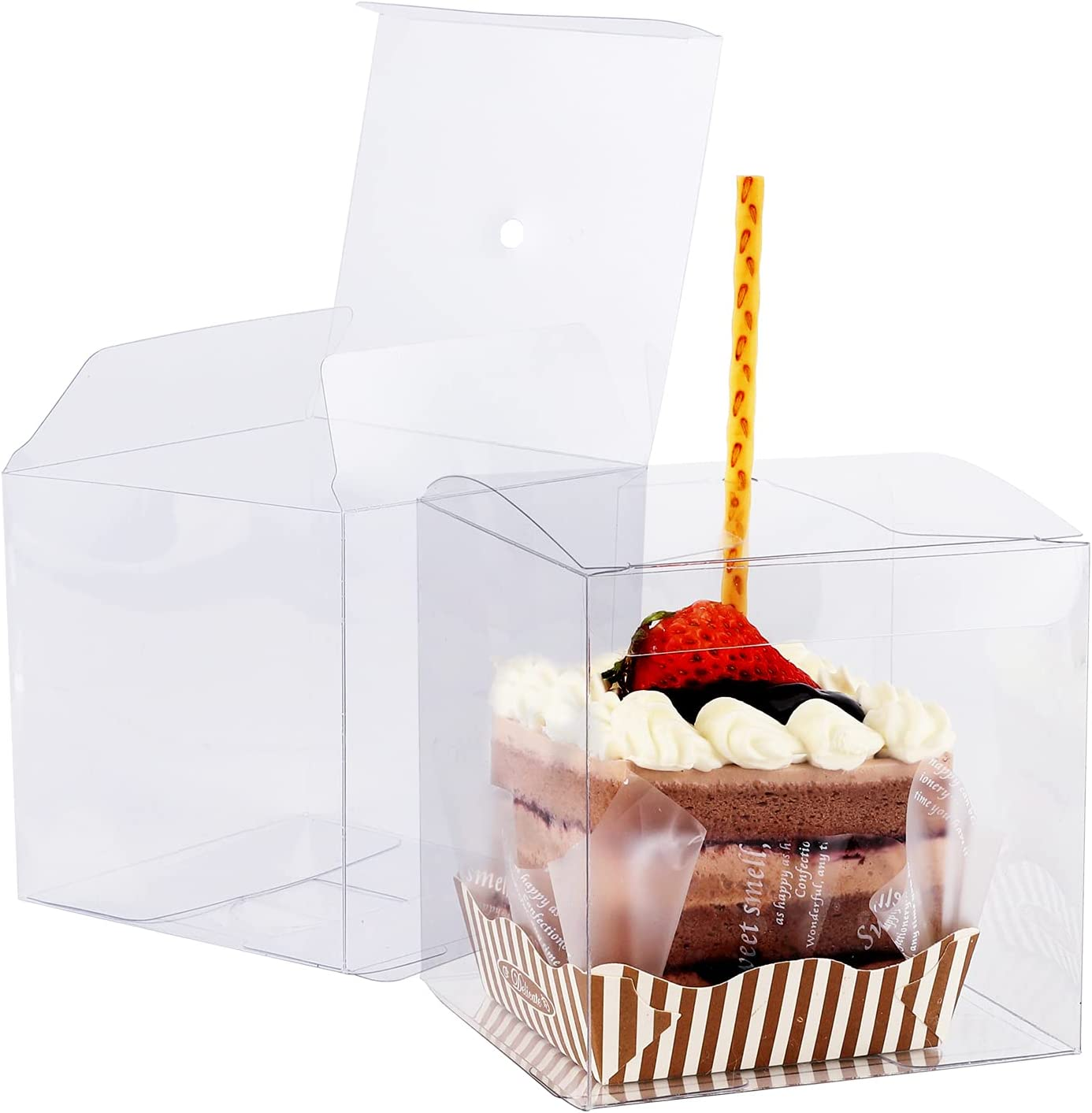 30 Pcs Candy Apple Box with Hole Top, 4 x 4 x 4 inch Plastic Gift Box Square Containers Transparent Packing Box for Macaron Cupcake,Wedding Party, Thanksgiving,Christmas, New Year Party