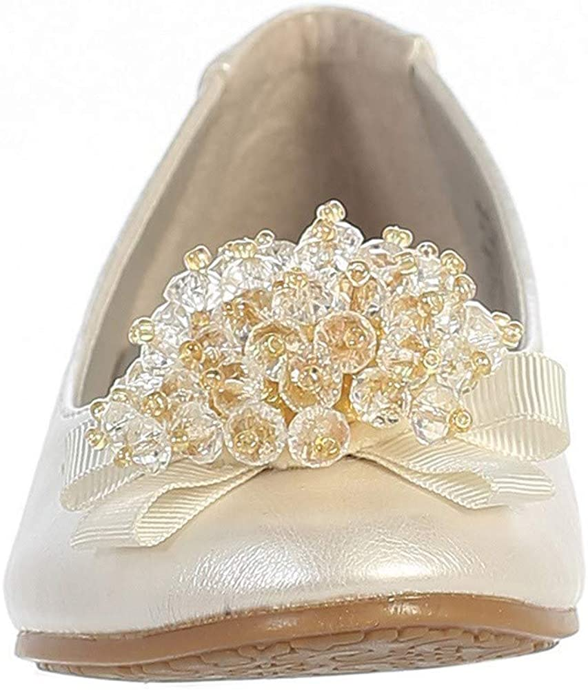 Lito Girls Ivory Crystal Bead Bow Anna Special Occasion Dress Shoes 13 Kids