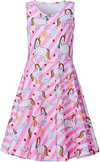 TUONROAD Girls Dress Cute Print Sleeveless Casual Dress Party Wedding Sundress 4-12 Years