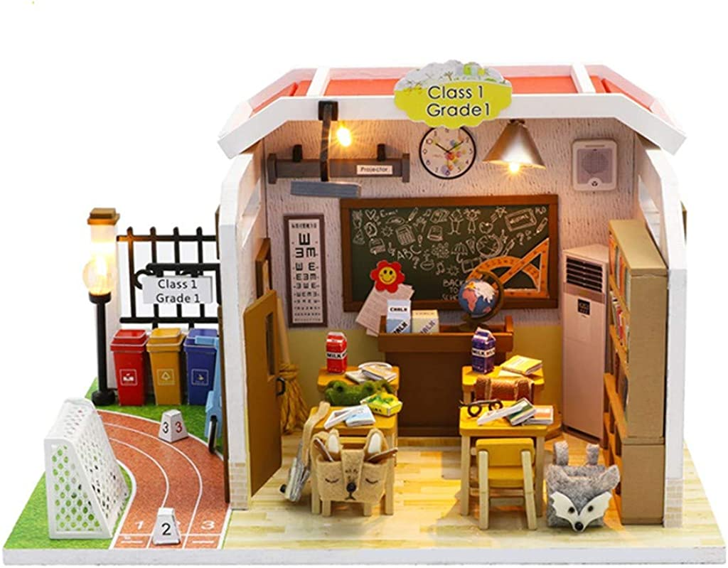 Xia&Han 3D School Classroom and Playground Wooden Dollhouse Miniature with Furniture DIY Kit Plus Crafts Creative Room