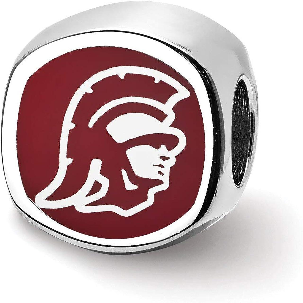 Lex /& Lu LogoArt Sterling Silver University of Southern California Trojan Head Enameled Bead