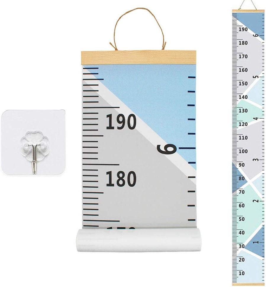 altura extra/íble y tabla de crecimiento de 7.9 x 79 pulgadas blanco blanco Lienzo para colgar en la pared con regla de medici/ón para ni/ños y ni/ñas decoraci/ón de habitaci/ón de guarder/ía