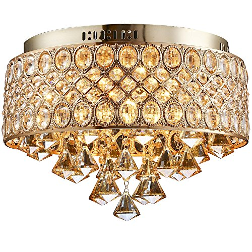 - LightInTheBox Modern 4 Lights Gold Diamond Shapes Crystal Chandelier Designers Round Flush Mount Ceiling Lighting Fixture (Gold)