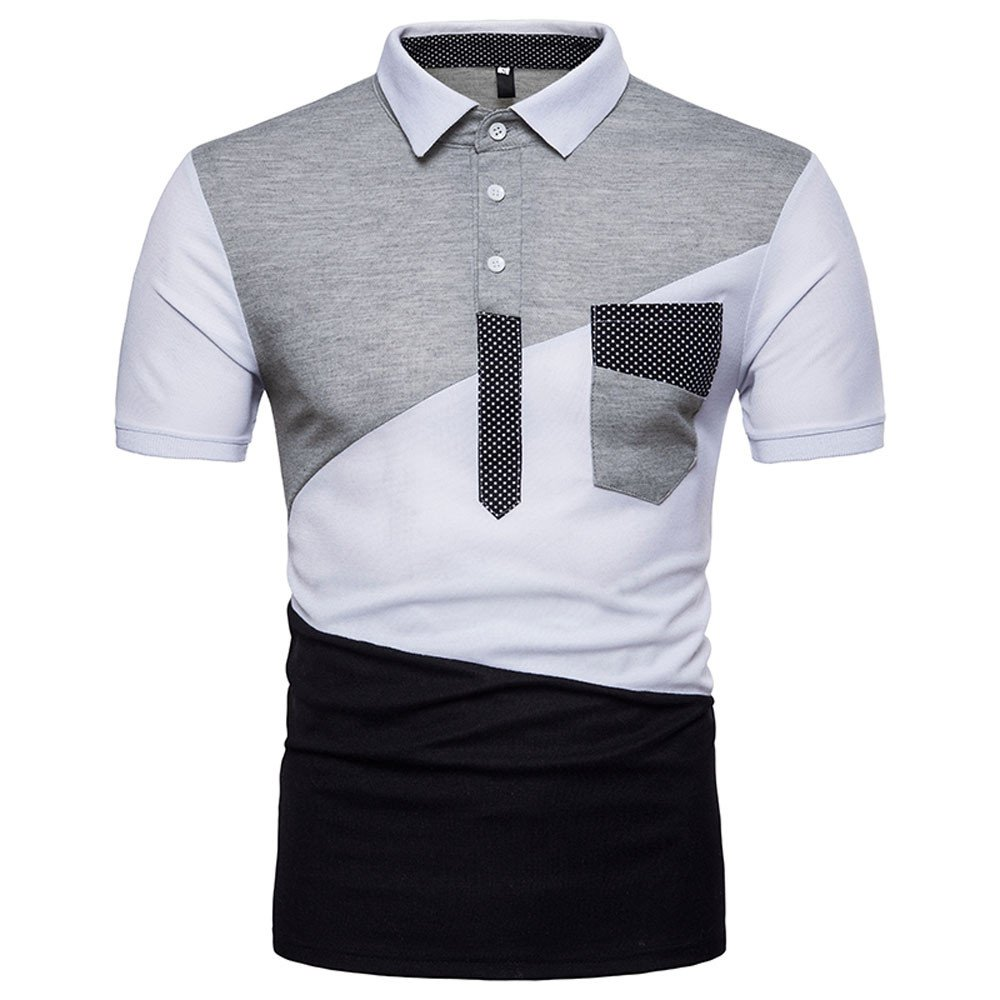 Mens Summer Slim Fit Contrast Color Stitching Stripe Short Sleeve Polo Casual T-Shirts White by Vickyleb Summer Shirts