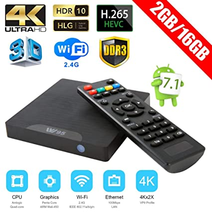 W95 4K Ultra HD Smart TV Box 2+16GB Android 7.1 Quad Core 2.4G WiFi Media Player