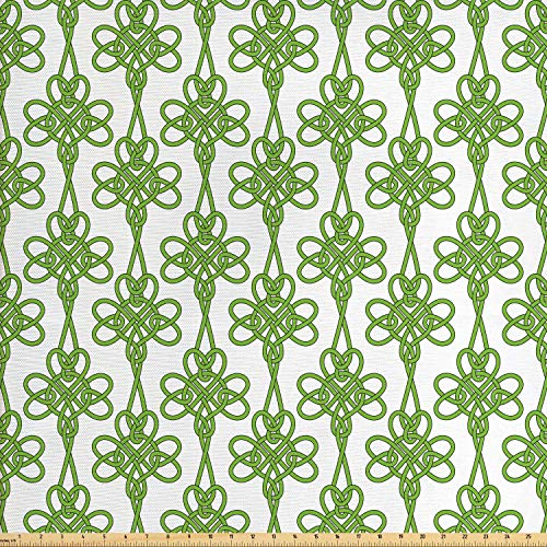 Lunarable Celtic Fabric by The Yard, St. Patrick's Day Theme Celtic Knots Lucky Clover Design Pattern Irish Theme Print, Decorative Fabric for Upholstery and Home Accents, 1 Yard, Green White