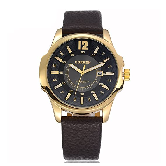 Correa reloj CURREN lujo de la marca del hombre del reloj de la fecha auto de cuero reloj deportivo: Amazon.es: Relojes