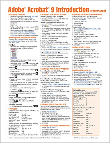 Adobe Acrobat 9 Quick Reference Guide (Cheat Sheet of Instructions, Tips & Shortcuts - Laminated Card)