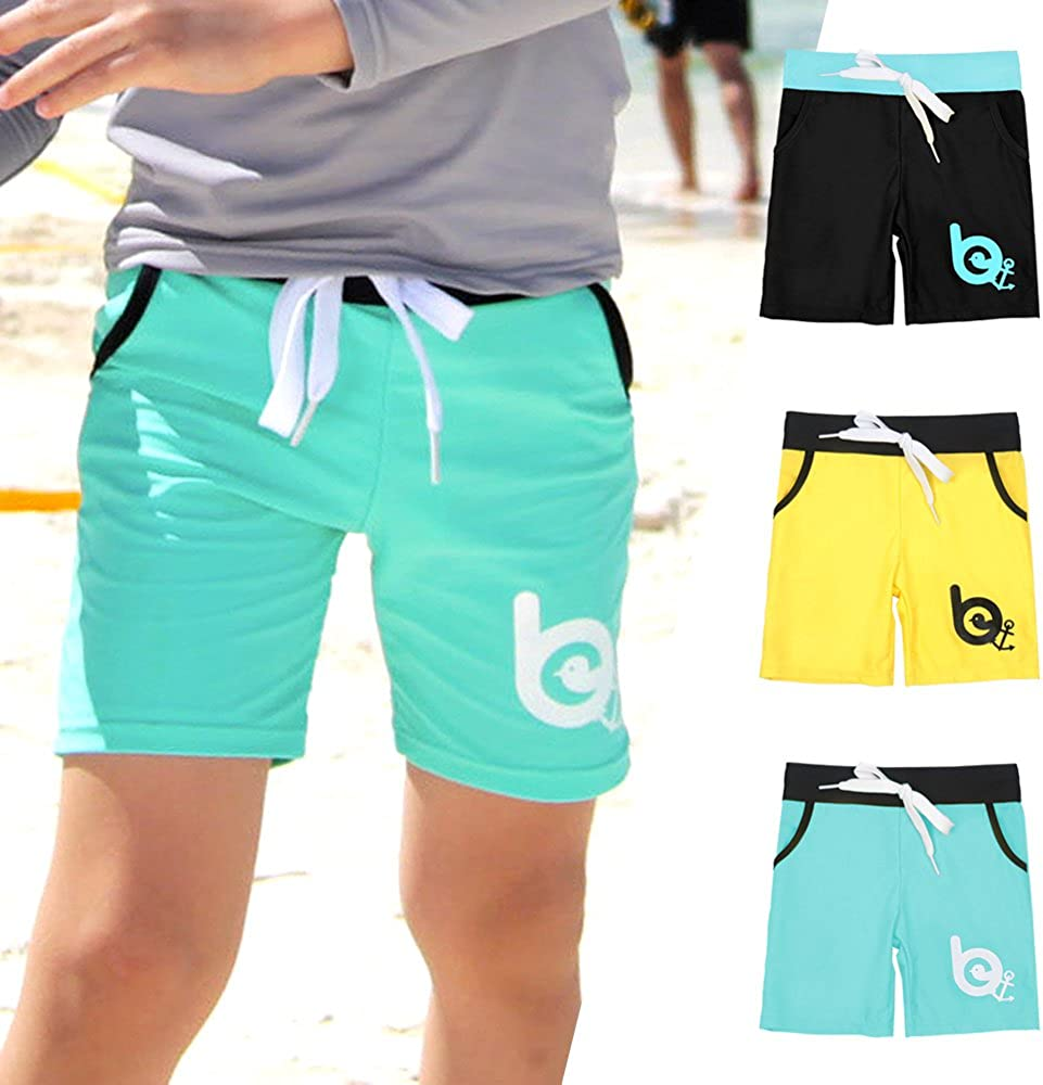 White Beach Black:M BAY-B Boys Swimming Bottom Board Shorts UPF50