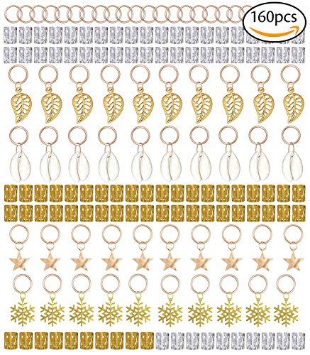 YHmall 160 Piesces Hair Jewelry Rings Decorations Pendants,