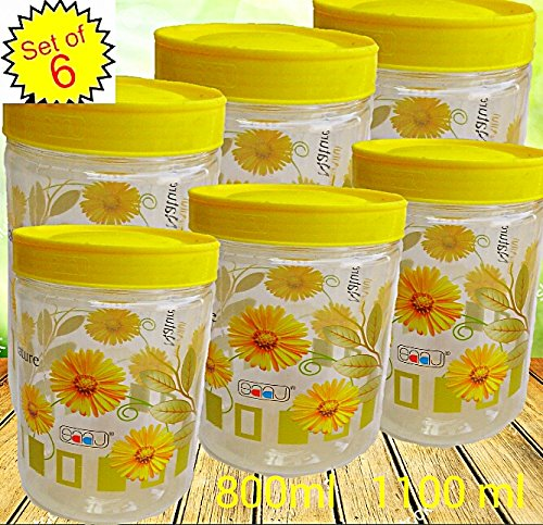 Buy Pawan Plastic Saaz Air Tight Set Of Six Multipurpose Flora ...