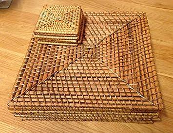 Rattan Platzdeckchen Quadratisch Rattan Java Platzsets Und
