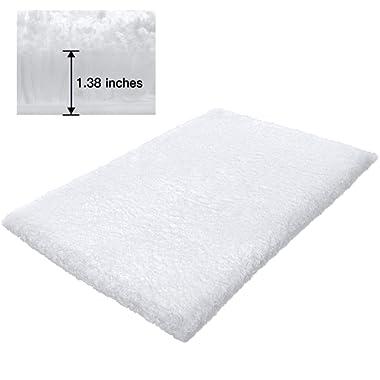 KMAT Bath Mat Bathroom Rugs 19  x 31 ,Soft Shaggy White Microfiber Shower Rug, Machine Washable Throw Rugs Non Slip Absorbent Luxury Plush Floor Mats Runner Carpet for Bath Tub Shower Bathroom
