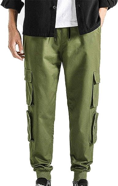 Mibuy Pantalones De Hombre Casuales Deporte Joggers Pants Algodón Slim Fit Jeans Cargo Trouser Chándal con Puño Elástico Slim Fit Joggers Cintas Pantalones Hip Hop Streetwear (Verde, 8XL): Amazon.es: Ropa y accesorios