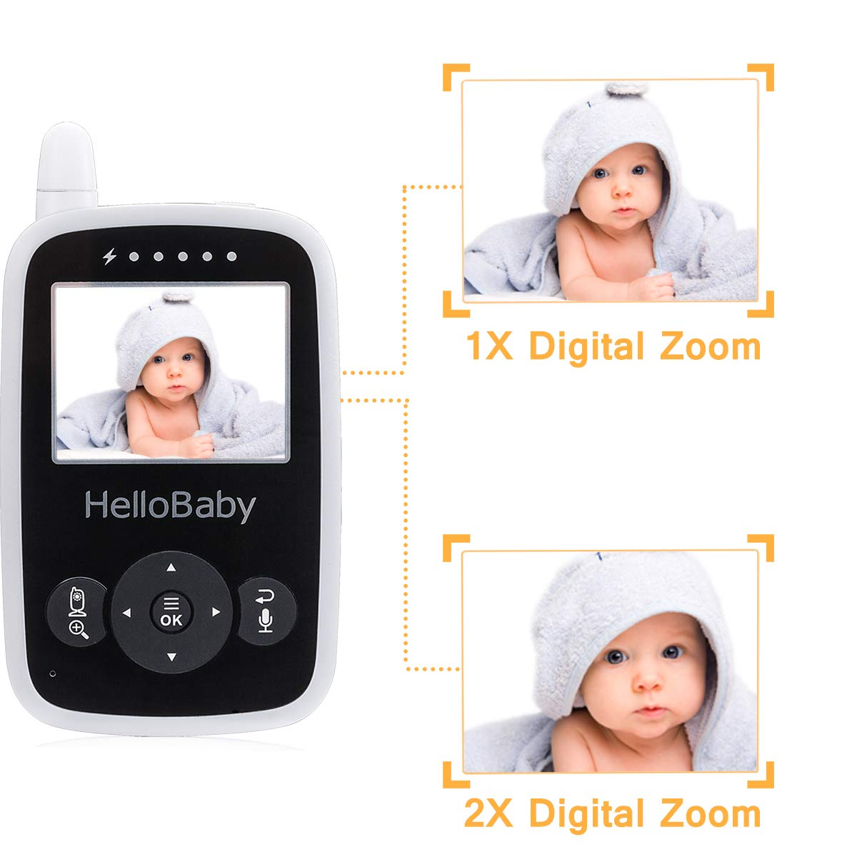 HelloBaby Video Baby Monitor with Camera - Infrared Night Vision, Two-Way Talk Back, Screen, Temperature Detection, Lullabies,Long Range, Private Data Protection and High Capacity Battery by HelloBaby (Image #6)