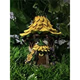 Hi-Line Gift Ltd. Fairy Garden House with Sunflower Roof-Solar LED Lights