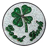 Adorable Glitzy Shamrock Ball Marker with Magnetic Hat Clip--Good Luck!