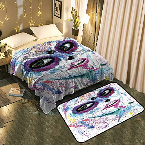Indoor Modern Blanket mat Combination Halloween Lady with Sugar Skull Make Up Creepy Dead Face Gothic Woman Modern Fashion Super Soft Blanket 70