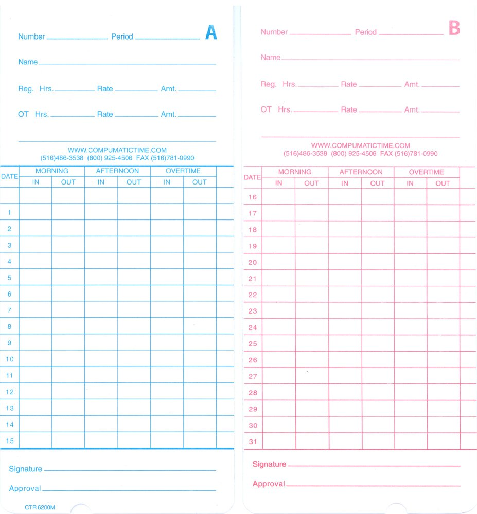 Compatible Time Cards for GSI Multi-Function Employee Payroll Time Clock Machine (monthly/semi-monthly, 250 per pack)