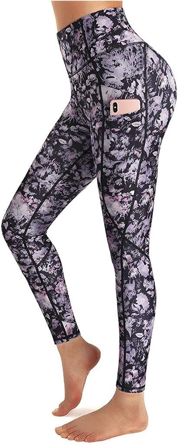 Xinantime Womens Loose Yoga Pants Pockets Leopard Print High Waist Workout Leggings Running Pants