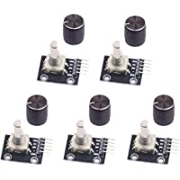 WayinTop 5pcs 360 Degree Rotary Encoder Module KY-040 Brick Sensor Development Board with Push Button for Arduino